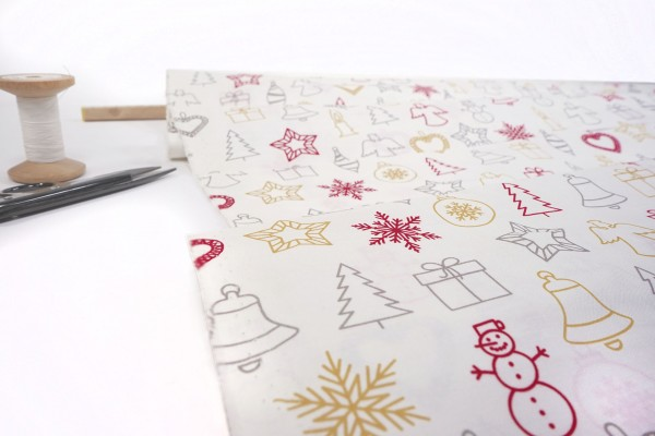 Baumwollstoff Weihnachten silber gold rot auf weiß