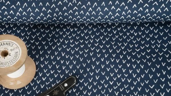 Baumwollstoff Popeline Häkchen weiß auf dunkelblau
