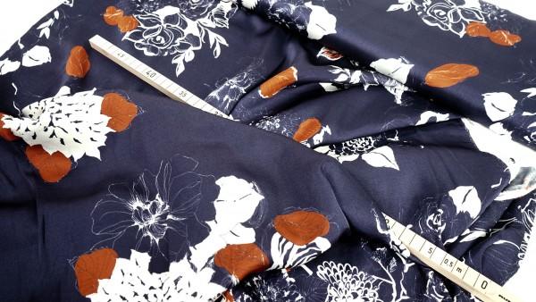 Viskose Satin • Physalis auf nachtblau