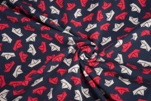 Baumwoll Jersey Georgies Papierschiffchen rot offwhite auf dunkelblau