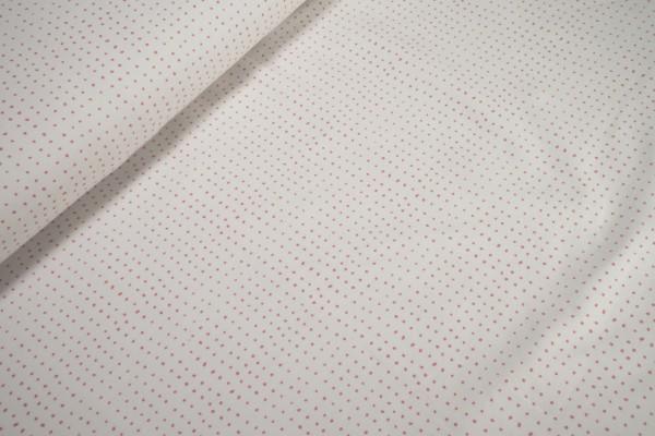 Jersey rosa Pünktchen auf weiß BioBaumwoll Jersey