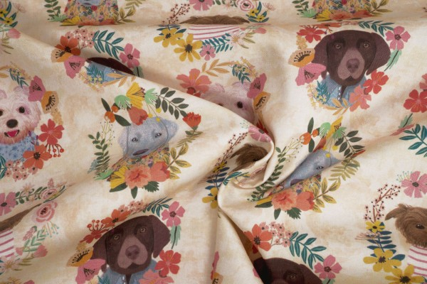 Blend Fabrics Floral Pets Dogs flowerys 129 101 09 01 by Mia Charro