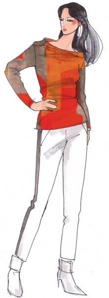 Pullover Pony-Hütchen Damen, Papierschnitt