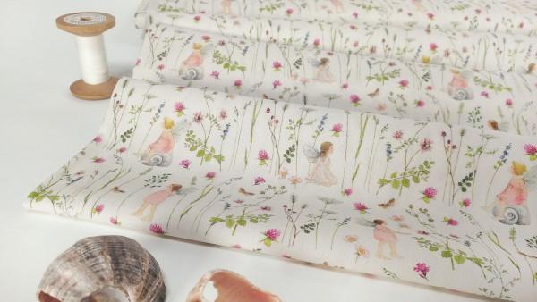 acufactum Baumwollstoff Elfengarten rosa auf weiß by Daniela Drescher