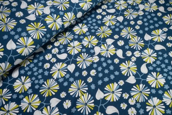 Viskose Jersey Garden Vines Blüten auf admiralblau