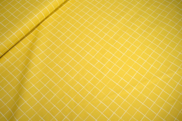 Baumwolle Popeline Karo weiß auf gelb print