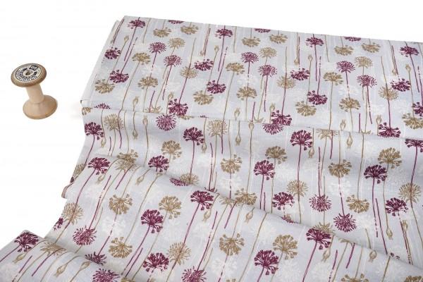 Baumwollstoff • Biloba Allium auf hellgrau