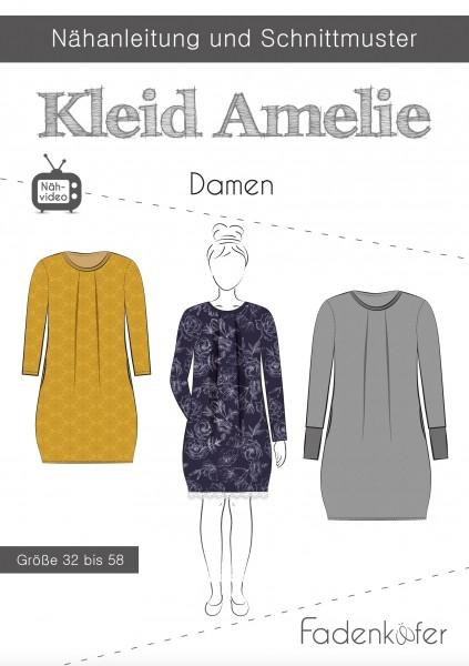 Kleid Amelie Damen,Papierschnitt,Fadenkäfer,Deckblatt mit Skizzen von Kleid