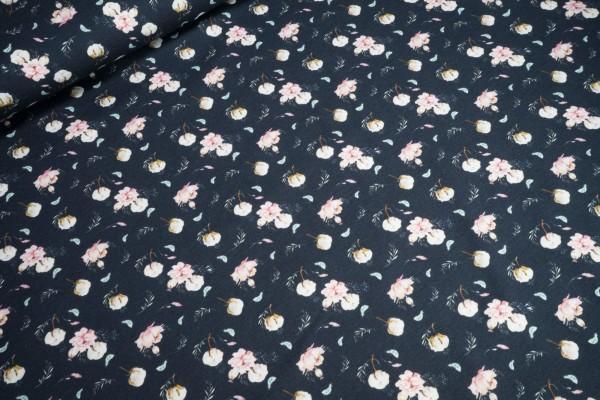 Jersey kleine Blumen pastel auf dunkelblau Baumwoll Jersey