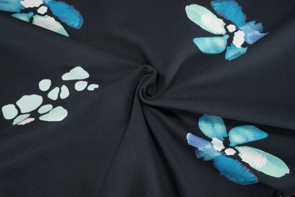 Jersey Stenzo Blüten multi blau weiß auf dunkelblau