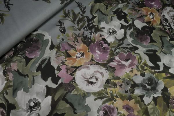 Viskose Satin Blumenprint auf grau