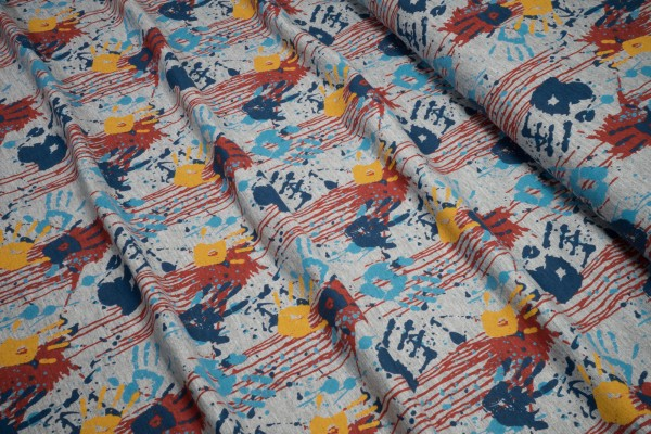 Jersey Stenzo Farbkleckserei mit Kinderhänden auf grau