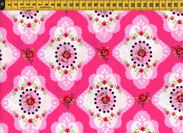Baumwollstoff • Rosenornament • pink
