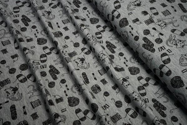 Jersey Katzen und Wollknäuel schwarz auf grau melange Baumwoll Jersey