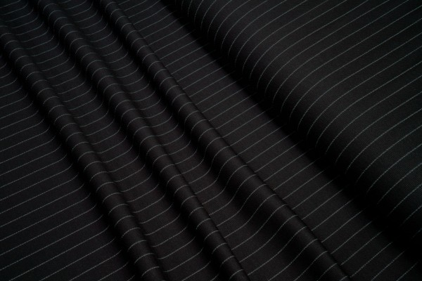 Feinstrick Viskose Nadelstreifen schwarz