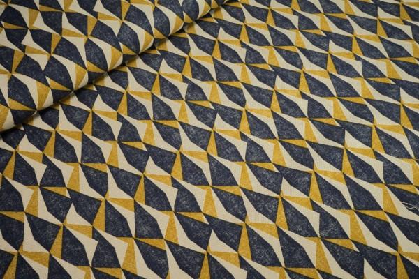Deko-Stoff abstrakte Dreiecke jeansblau senfgelb Baumwollstoff