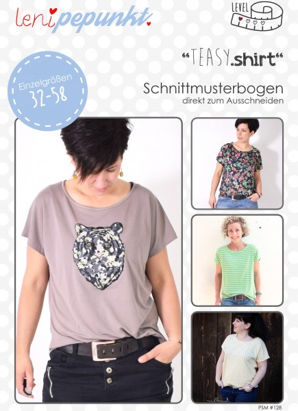 128,TEASY.shirt,Papierschnitt,Leni Pepunkt,Deckblatt mit Frau in Shirt