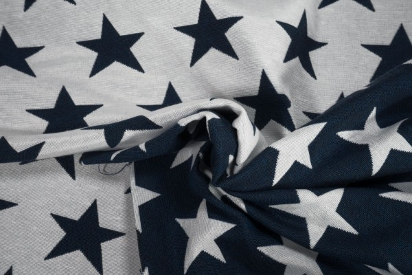 Deko Jacquard Wendestoff Sterne blau weiß Baumwollstoff
