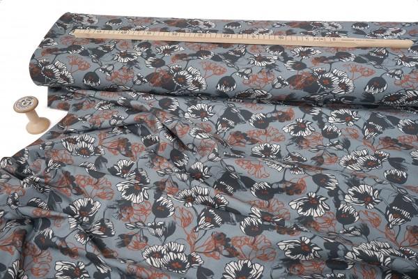 Baumwolljersey Avalana Blütenallover steel