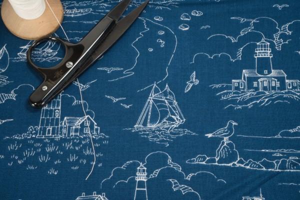 Studio e fabrics Lighthouse Sketch 5014-77 dark blue Quilt-ish of Cape Cod