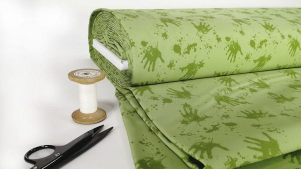 Softshell wilde Kleckserei mit Handabdruck grün auf apfelgrün