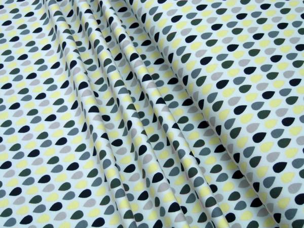 Jerseygrün gelbe Tropfen auf hellgrau Baumwoll Jersey