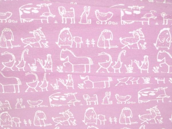Jersey weiße Landtiere auf rosa Baumwoll Jersey