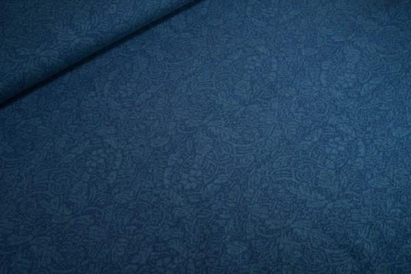 Biobaumwoll-Strickjacquard • Ornament dunkelblau