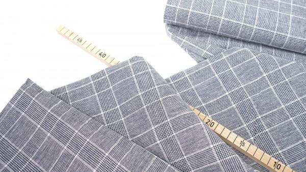 Leinen-Baumwollmischung • Glencheck • dunkelblau/weiß