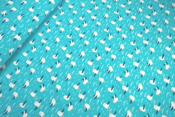 Jersey niedliche Möwen auf hoher See türkis Baumwoll Jersey