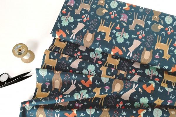 Baumwollstoff Bodo Waldtiere auf jeansblau