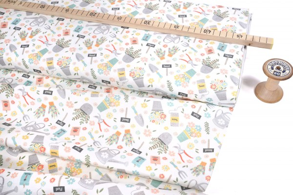 Camelot Fabrics • Wish for rain • Joy of gardening 89191001#1 by Puck Selders