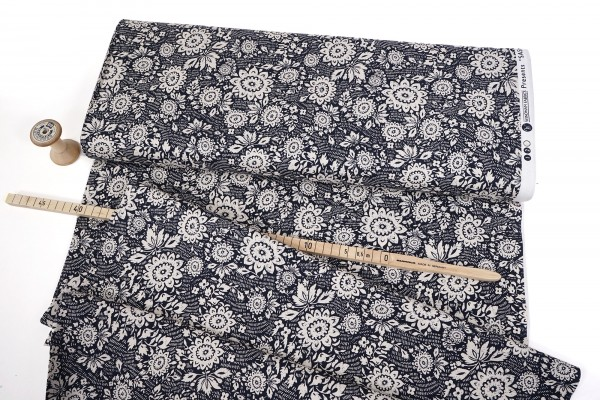 Windham Fabrics Sashiko Floral stitch 51810-2 Indigo by Whistler Studios
