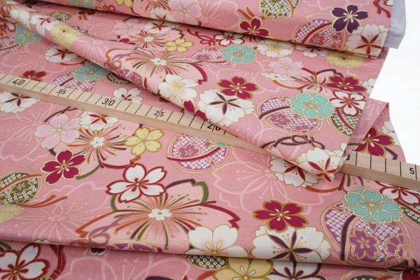 Quilt Gate Hyakka Ryoran Suzune HR 3340-14B Rosa Gold