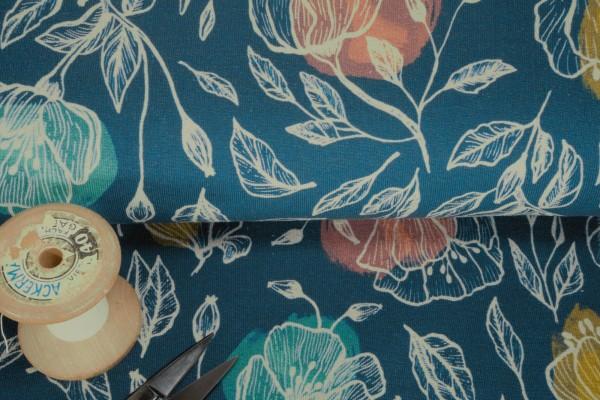 Modal French Terry Sevda Blumen auf dunkelblau