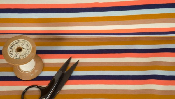 Baumwoll Jersey Streifen multi beige multi blau apricot
