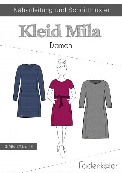 Kleid Mila Damen,Papierschnitt,Fadenkäfer,Deckblatt mit Skizzen von Kleid