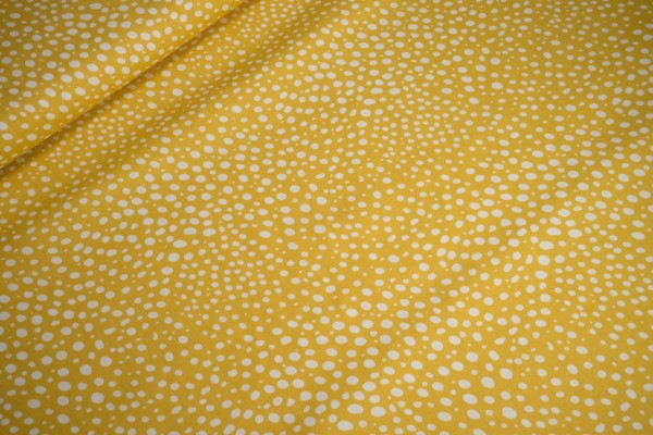 Baumwolle Popeline Pünktchen weiß auf gelb print Stenzo