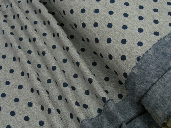 Jacquard blaue Tupfen auf grau