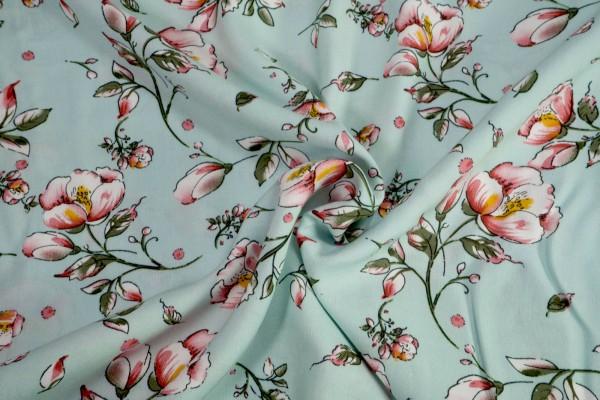 Viskose kleine Rosen grün auf hellmint