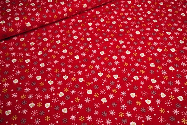 Baumwollstoff Weihnachten weiß goldene Herzen und Schneeflocken auf rot