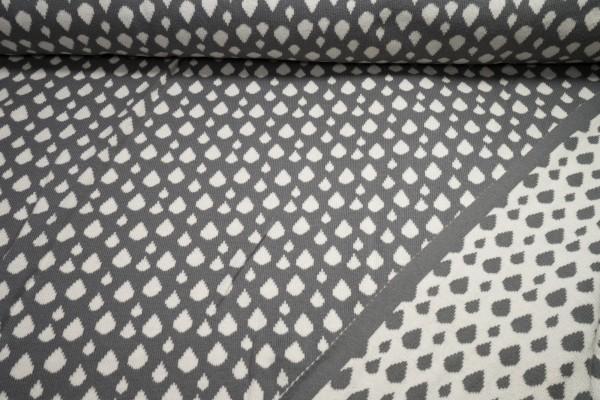 Bio Strickstoff Wendestoff Tropfen creme auf grau grau auf creme Baumwolle