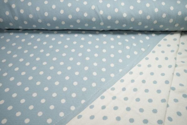 Bio Strickstoff Wendestoff Punkte creme auf hellblau auf creme Baumwolle