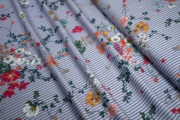 Viskose Floral auf blau weißen streifen mit Punkten