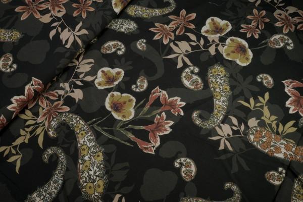 Viskose große Blumen Blumenpaisley auf schwarz