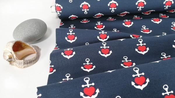 Baumwoll Jersey Hafenliebe Anker Herzchen auf dunkelblau