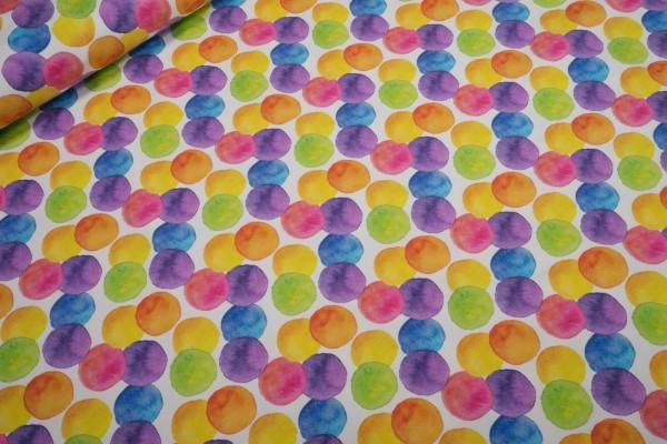 Jersey Stenzo Aquarell Kreise regenbogenfarben auf weiß