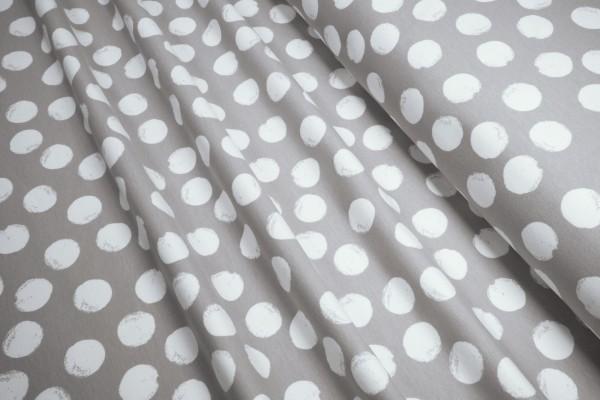 BIO-Sweat French Terry Stoffonkel aufgeraut Mellow Dots steingrau