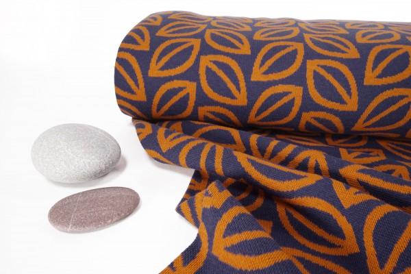 Jacquard Strick Spirit of Autumn fall Leaves orange auf dunkelblau by lycklig design