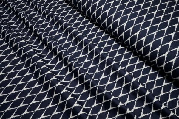 Jacquard Strick Lisa Ornamente dunkelblau wollweiß